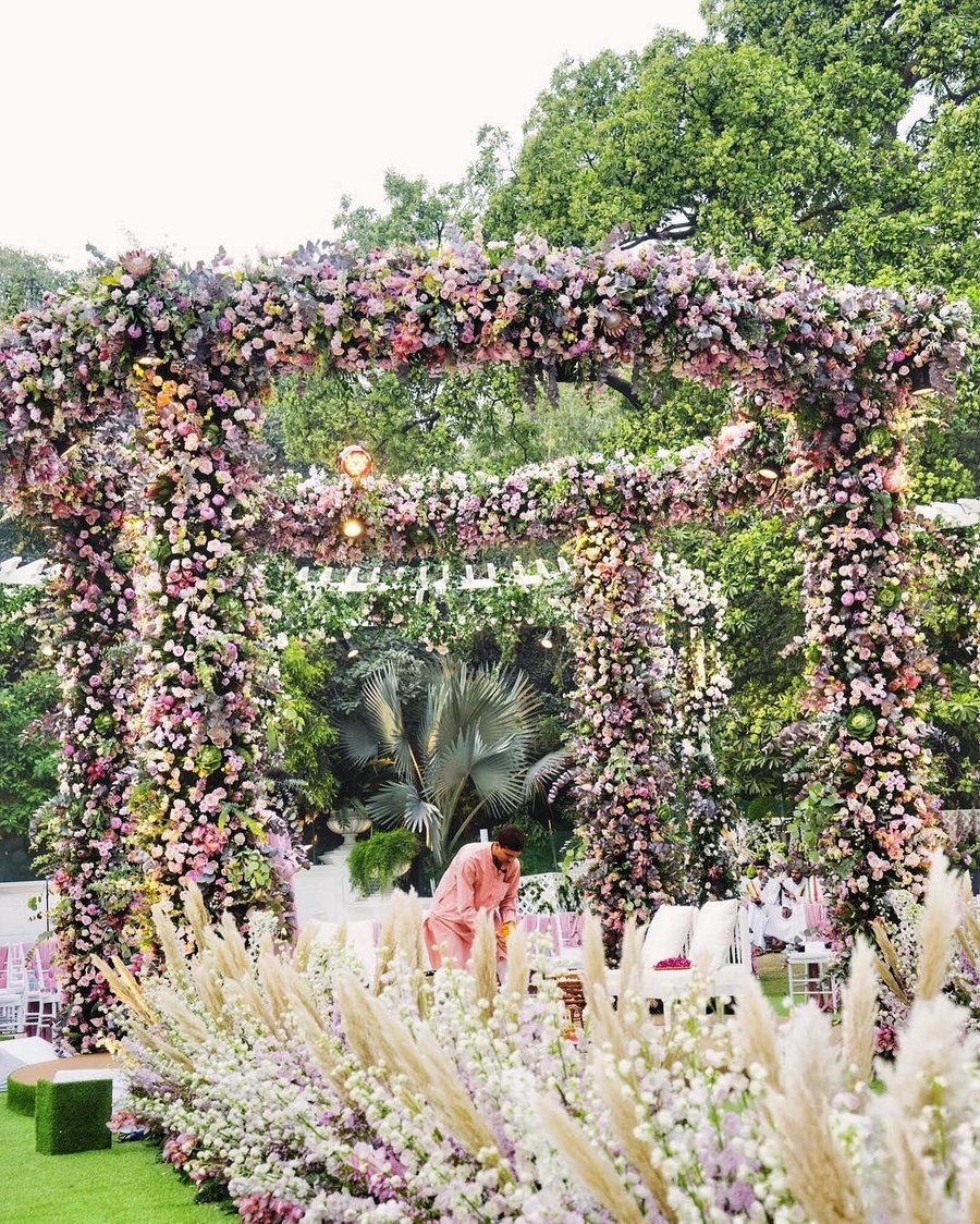 Open outdoor Mandap Decorated With Pastel Flowers