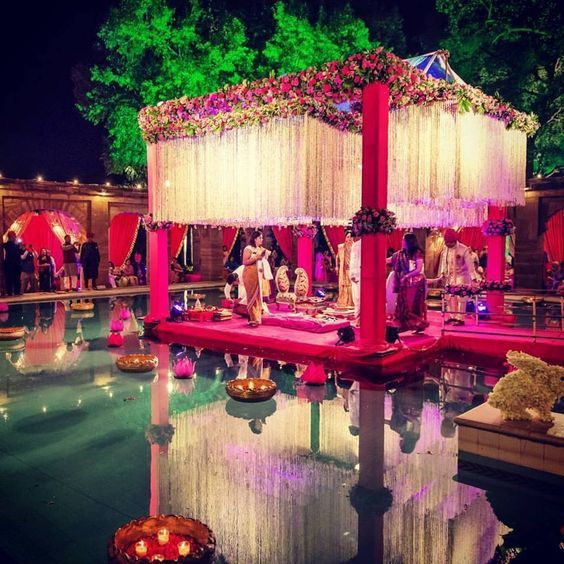 Floating wedding mandap decoration with flowers