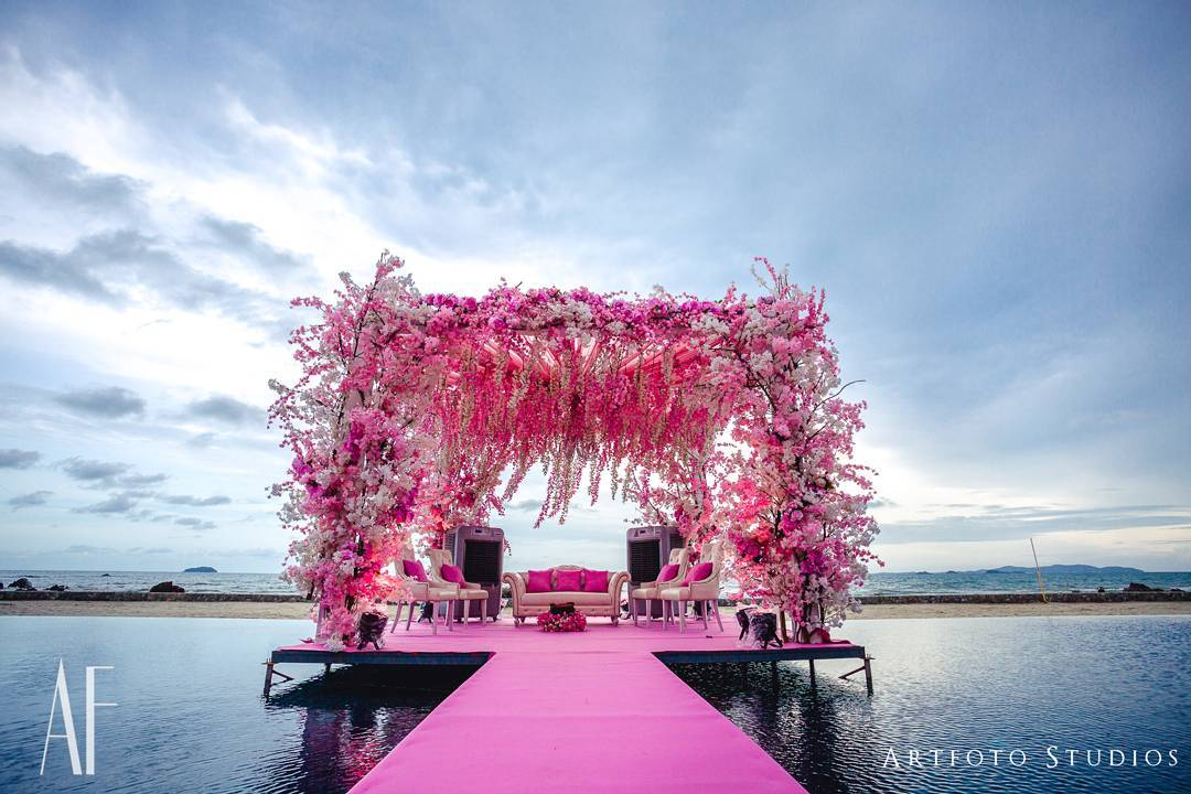 Best Floating Mandap with a Ceiling of Suspended pink and white Floral Strands