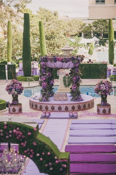 open mandap decoration with Shades of Violet colour and violet flowers