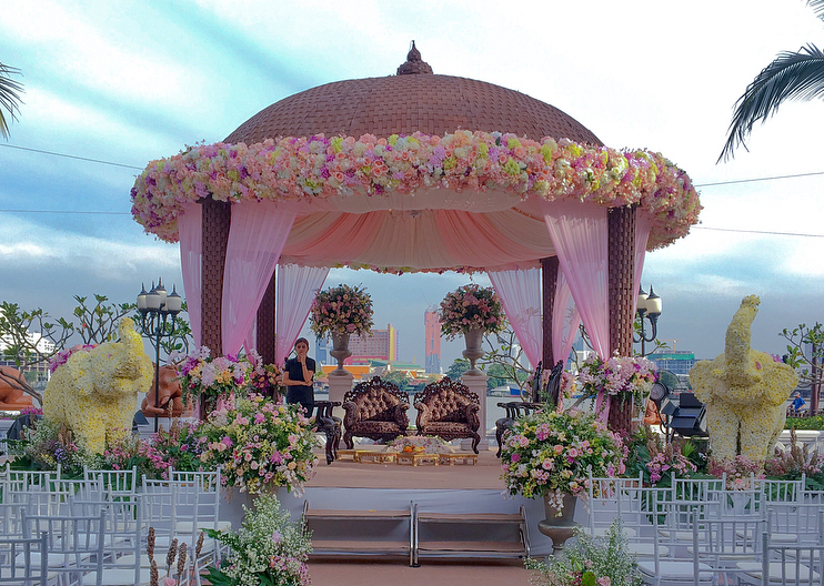 Existing Dome Structure Used to create a Simple Floral Mandap design with floral elephants on the corners