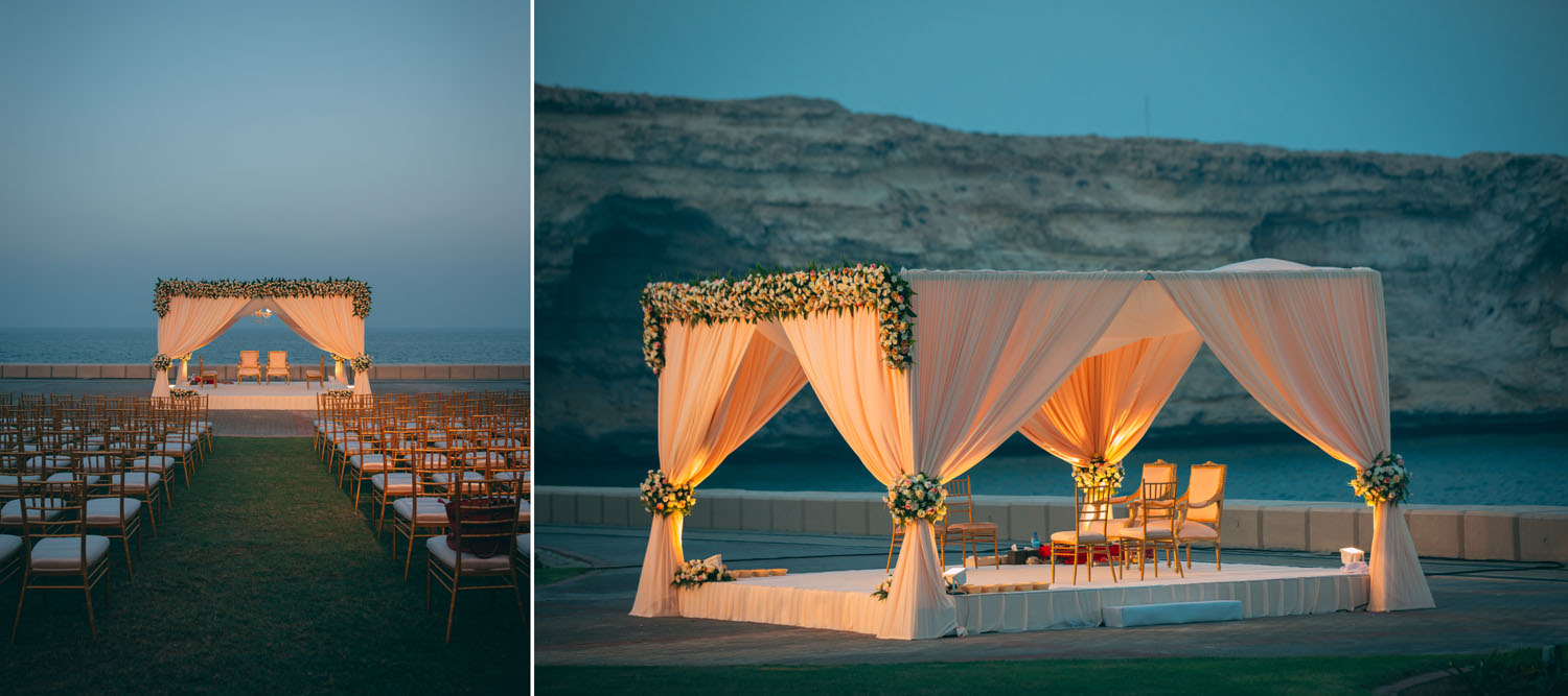 simple wedding mandap with peach drapes and floral decoration for a beach wedding
