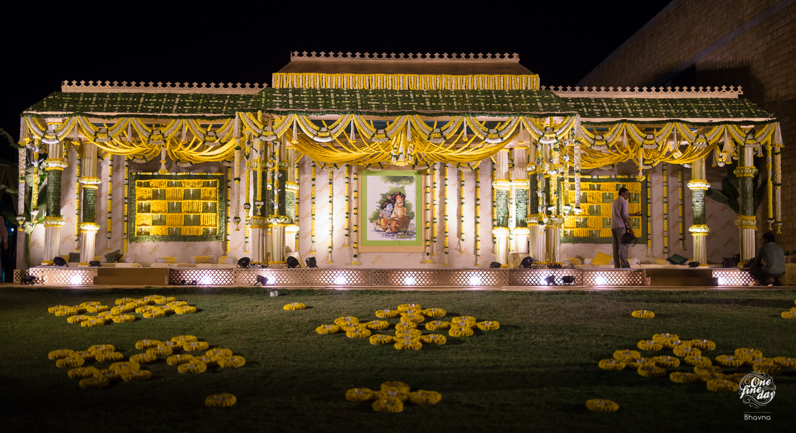 Gorgeous Yellow & Green traditional Mandap decorated for South Indian Wedding