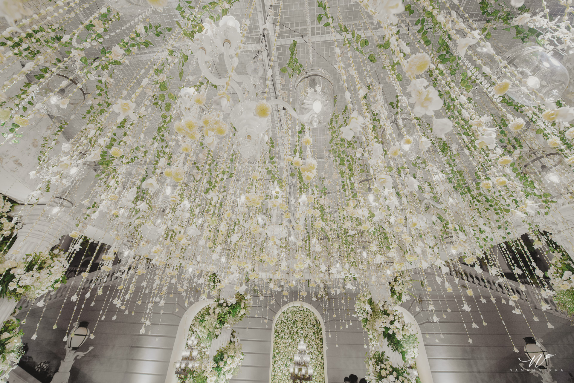 crystal wedding mandap decoration with foliage and white flowers