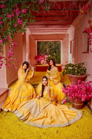 Yellow-and-gold-bridal-and-bridesmaid-lehengas-Abhinav-Mishra-Fall-Winter-2017-collection-Haseen
