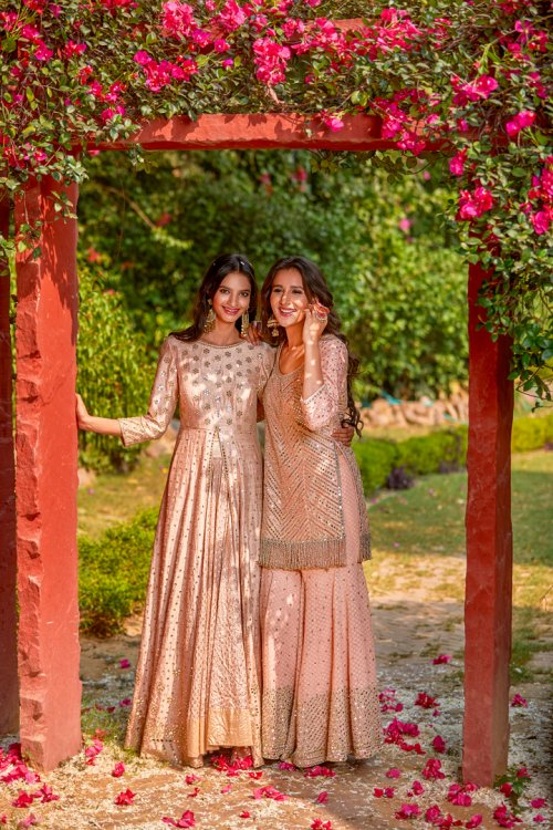 Pastel-gold-and-silver-jacket-anarkali-and-sharara-kurta-Abhinav-Mishra-Fall-Winter-2017-collection-Haseen