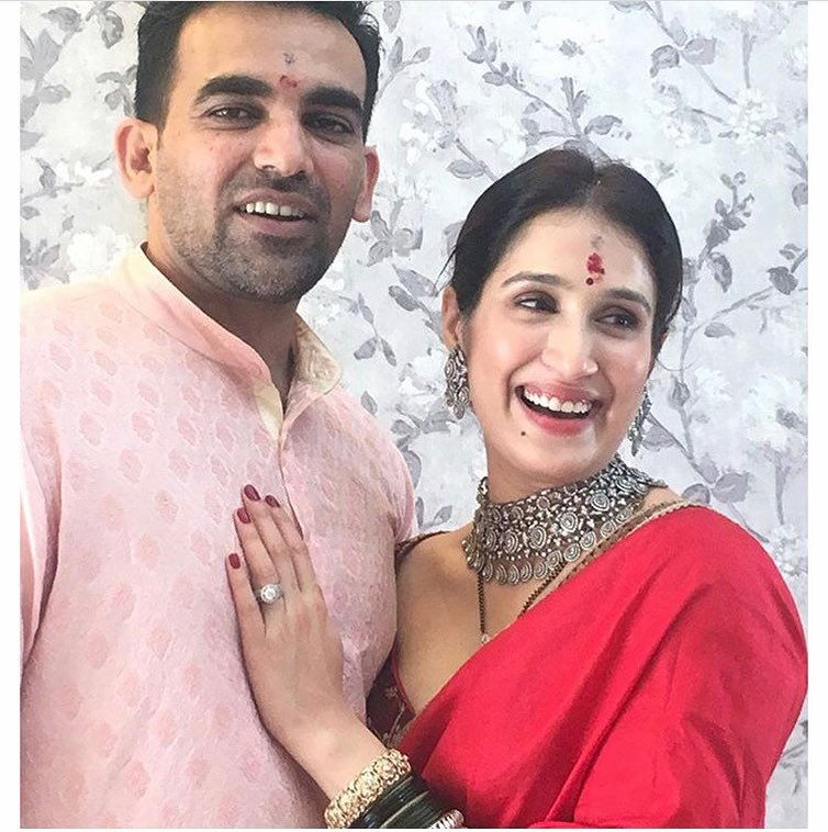 Sagarika Ghatge Wedding Look Red Saree