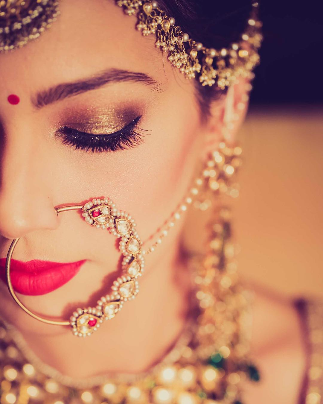 Bridal Nath Ideas - small nath with pearl string