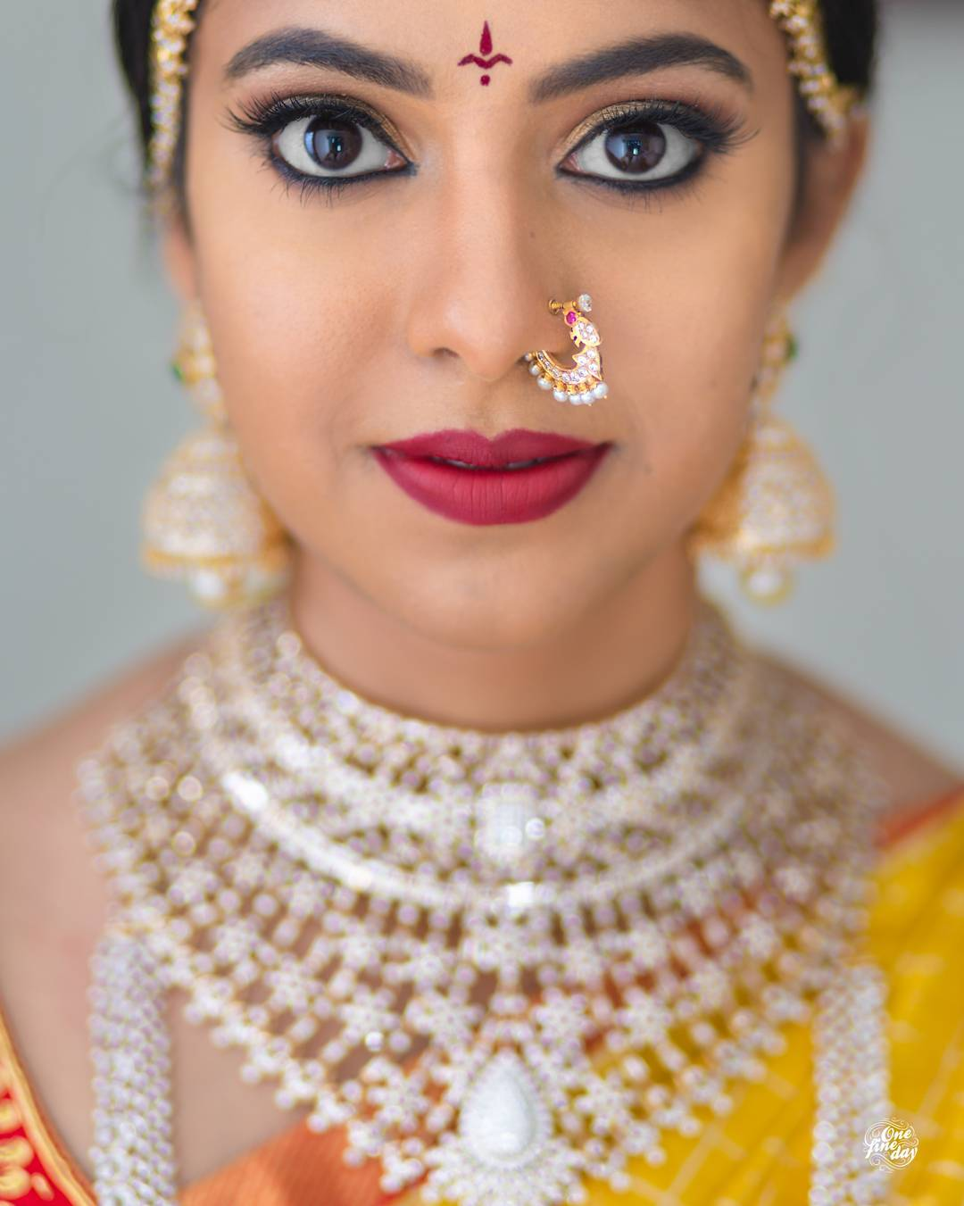Bridal Spring Nath - maharashtrian nose ring with white  pearls detailing