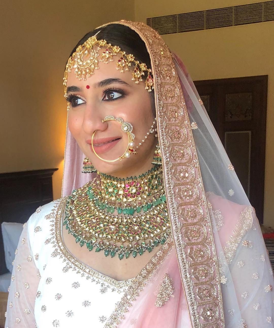 beautiful diamond nath design for Indian bride