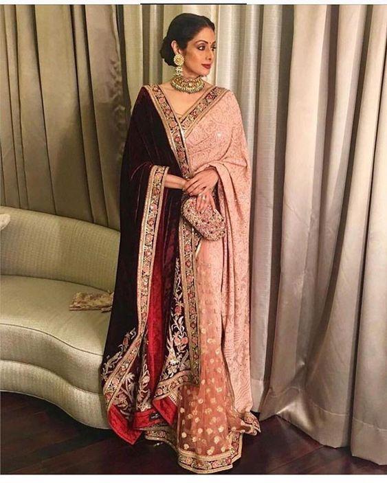 Sri Devi Velvet Shawl Winter Wedding Style