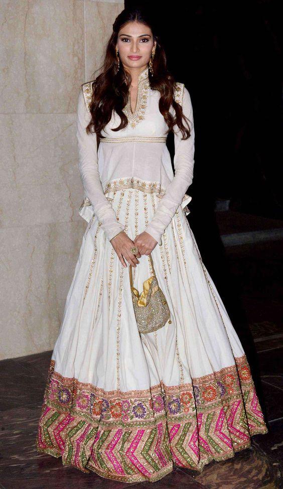 Athiya Shetty Long Sleeves White Lehenga Winter Wedding Outfit