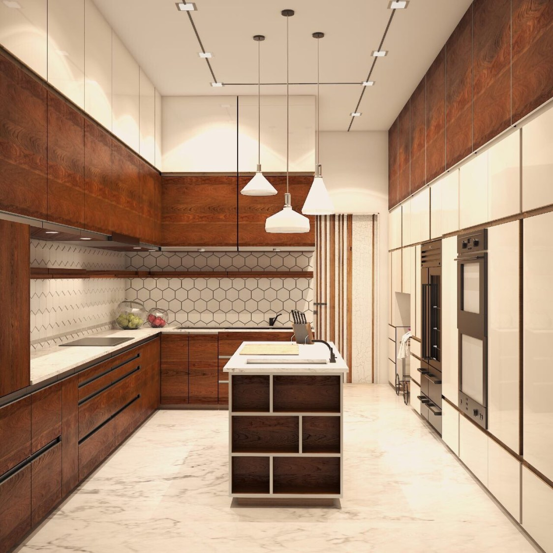Open Island Kitchen with kitchen cabinets
