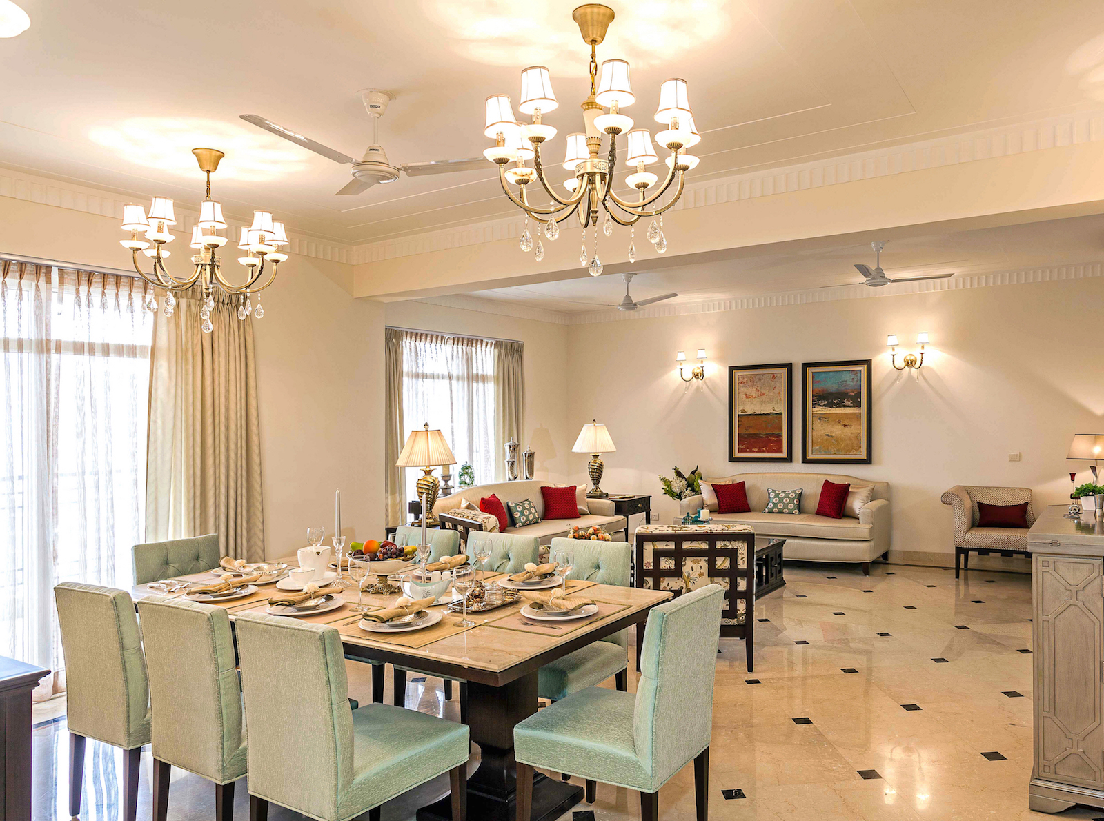 House tour inside a delhi 4bhk with timeless transitional - Curtains for living room and dining room ...