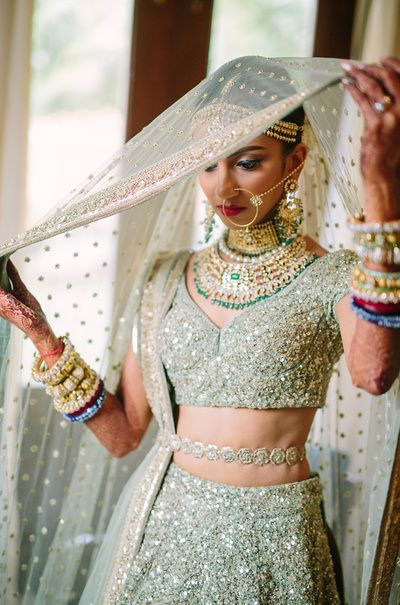 Image result for Sage green bridal lehenga
