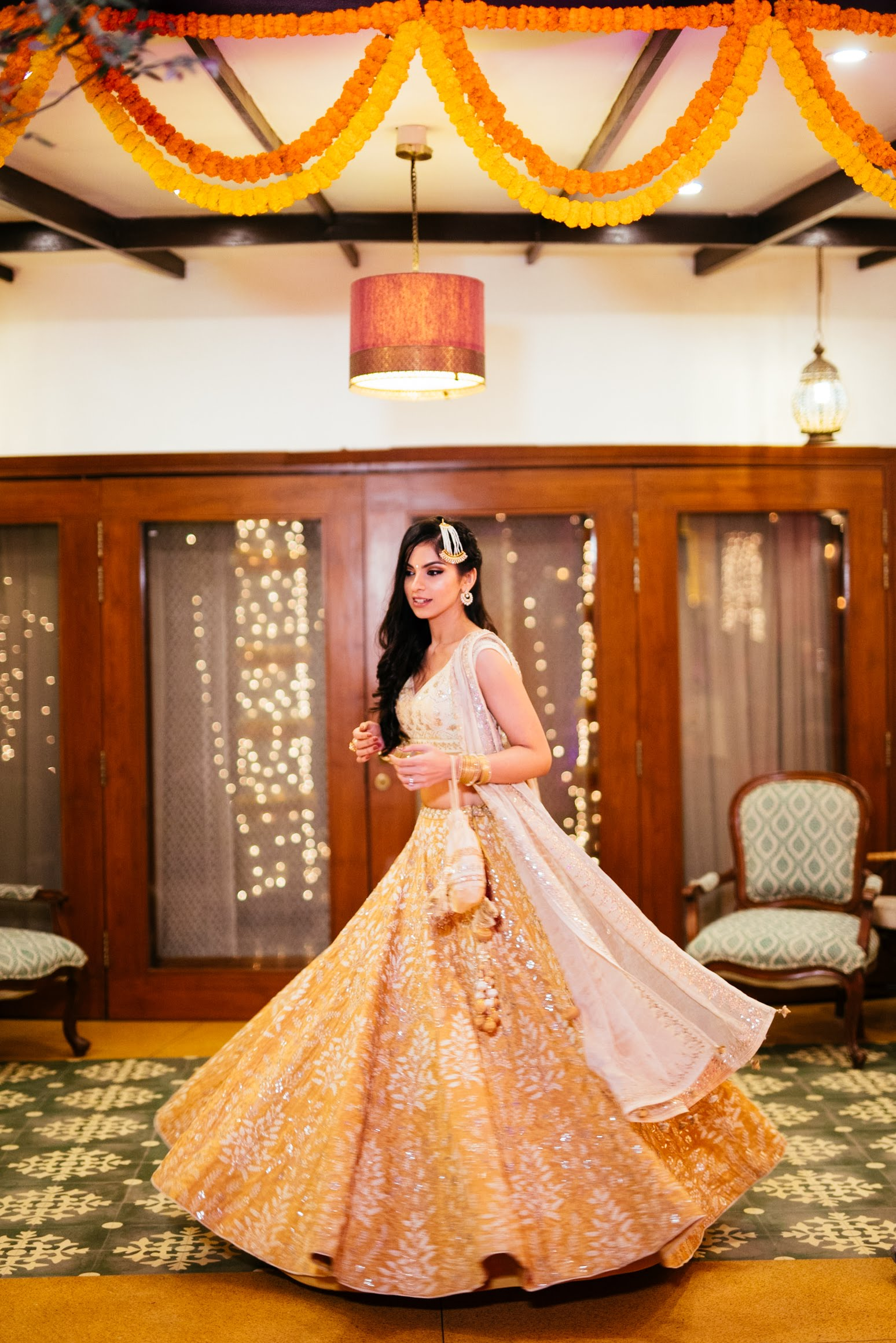 Ivory and Gold Sangeet Wedding Outfit.