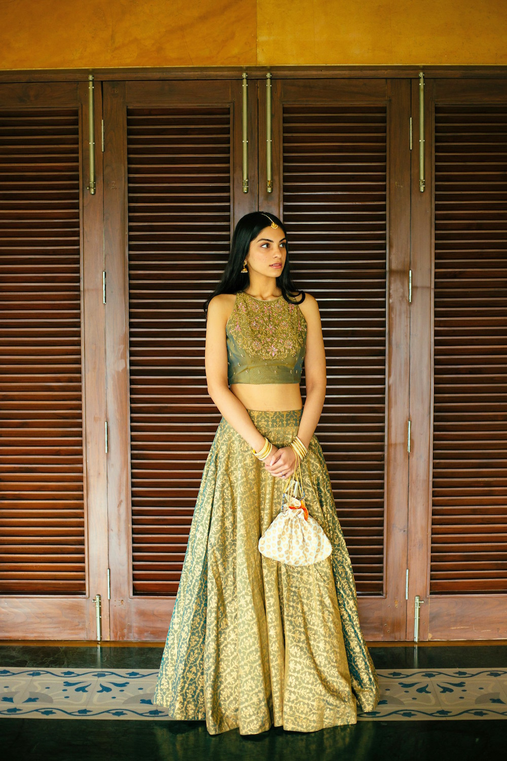 Green Silk Lehenga and crop top- Bridal Mehendi Outfit