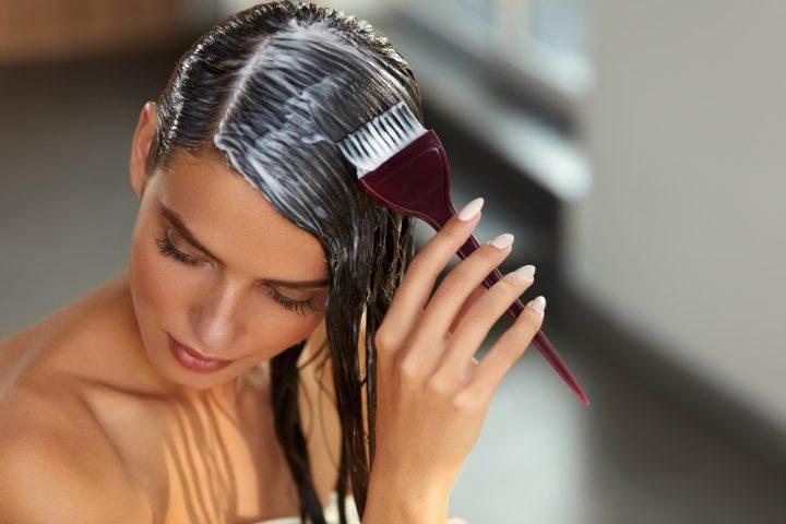 girl applying hair mask