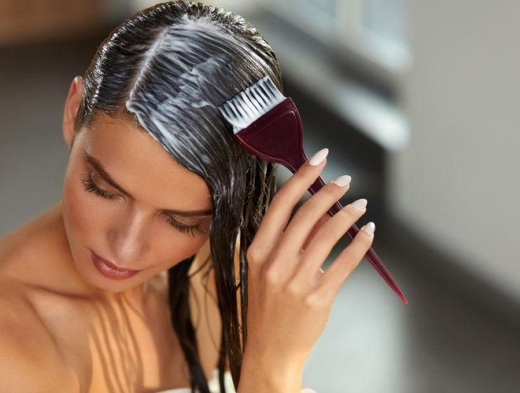 girl applying hair mask