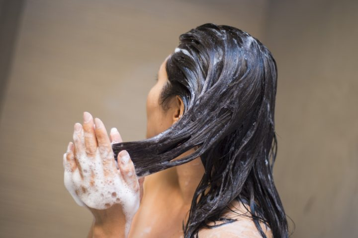 girl washing her hair