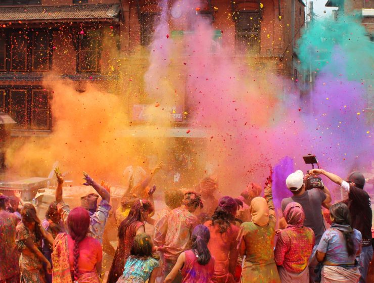 people playing holi