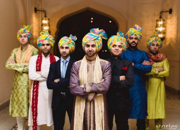 tie & dye multicoloured wedding safa for barati