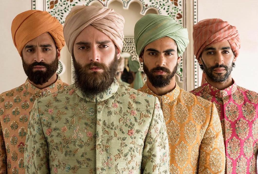 Pastel designer royal wedding turbans
