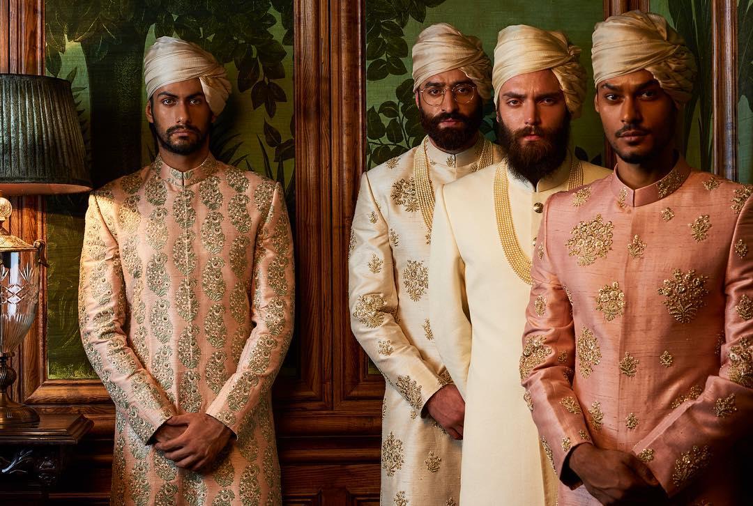 Gold Tissue & Silk Metallic designer safa for groom and barati - Sabyasachi Firdaus Collection