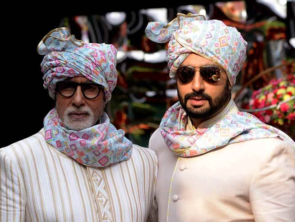 Amitabh Abhishek Bachchan safa - designer safa in batik print for barati