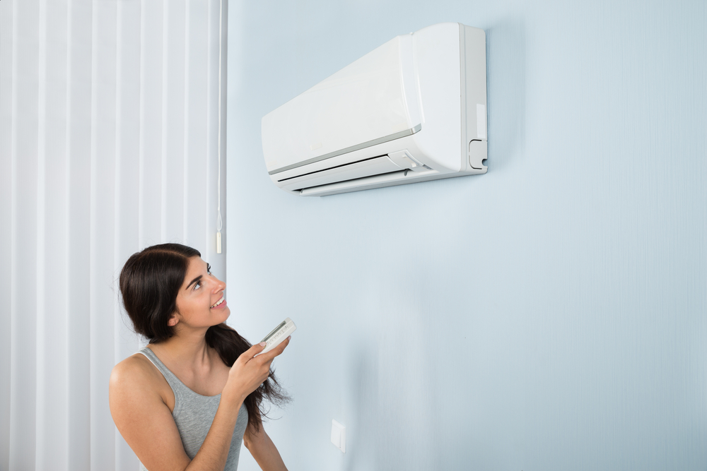 woman operating a split AC