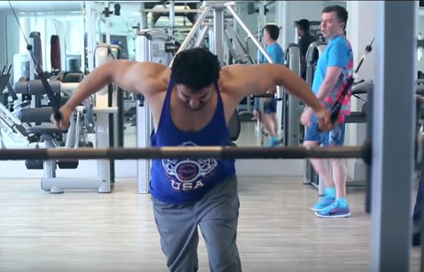Aamir khan doing back exercise
