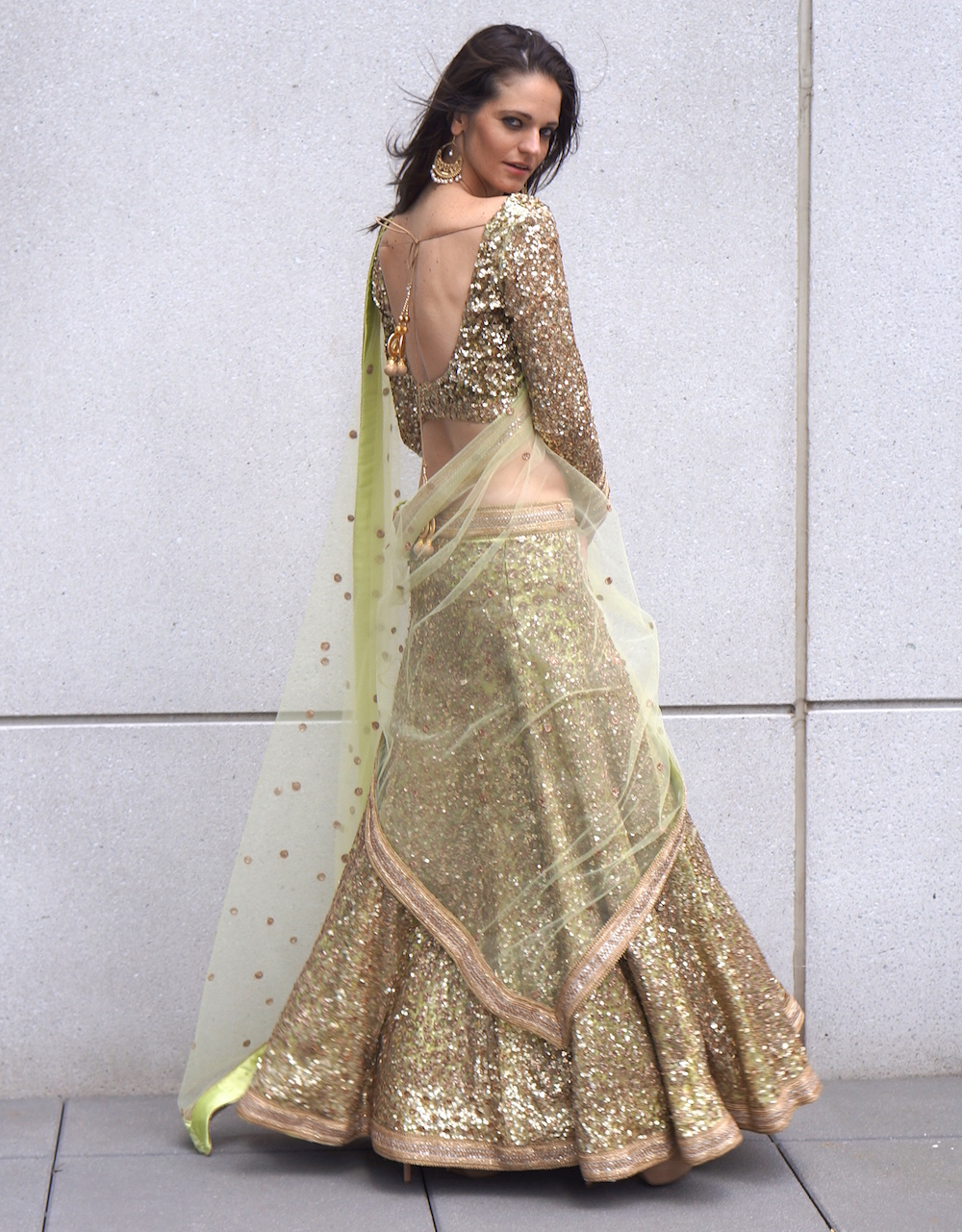 wedding dresses- mint bridal sequin lehenga for rent