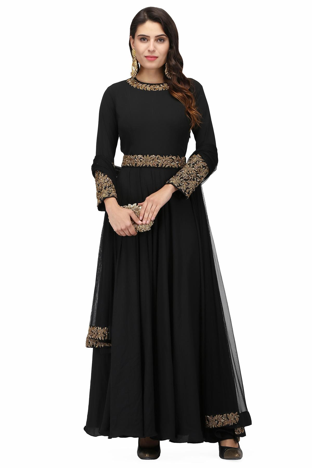 Wedding dresses- Black anarkali for rent