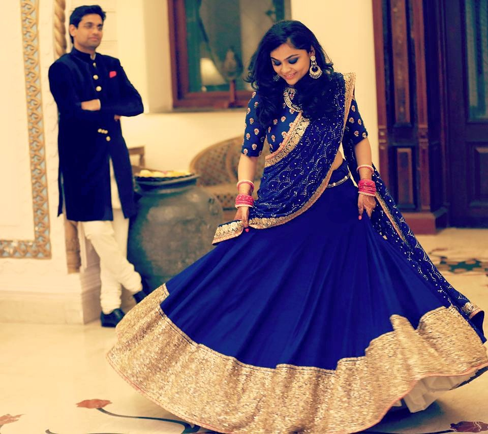 blue Sabyasachi lehenga for rent