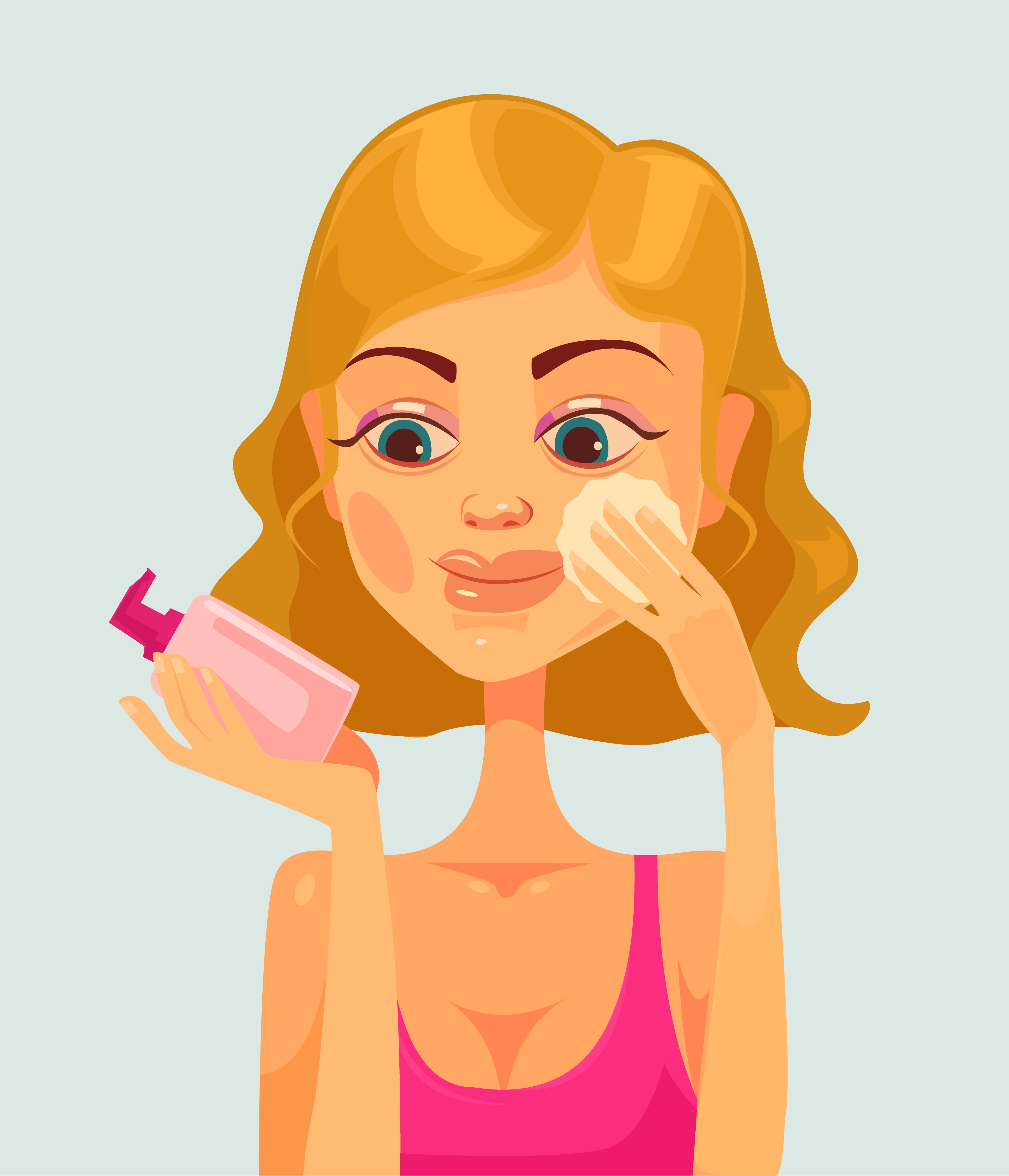 woman applying serum on face