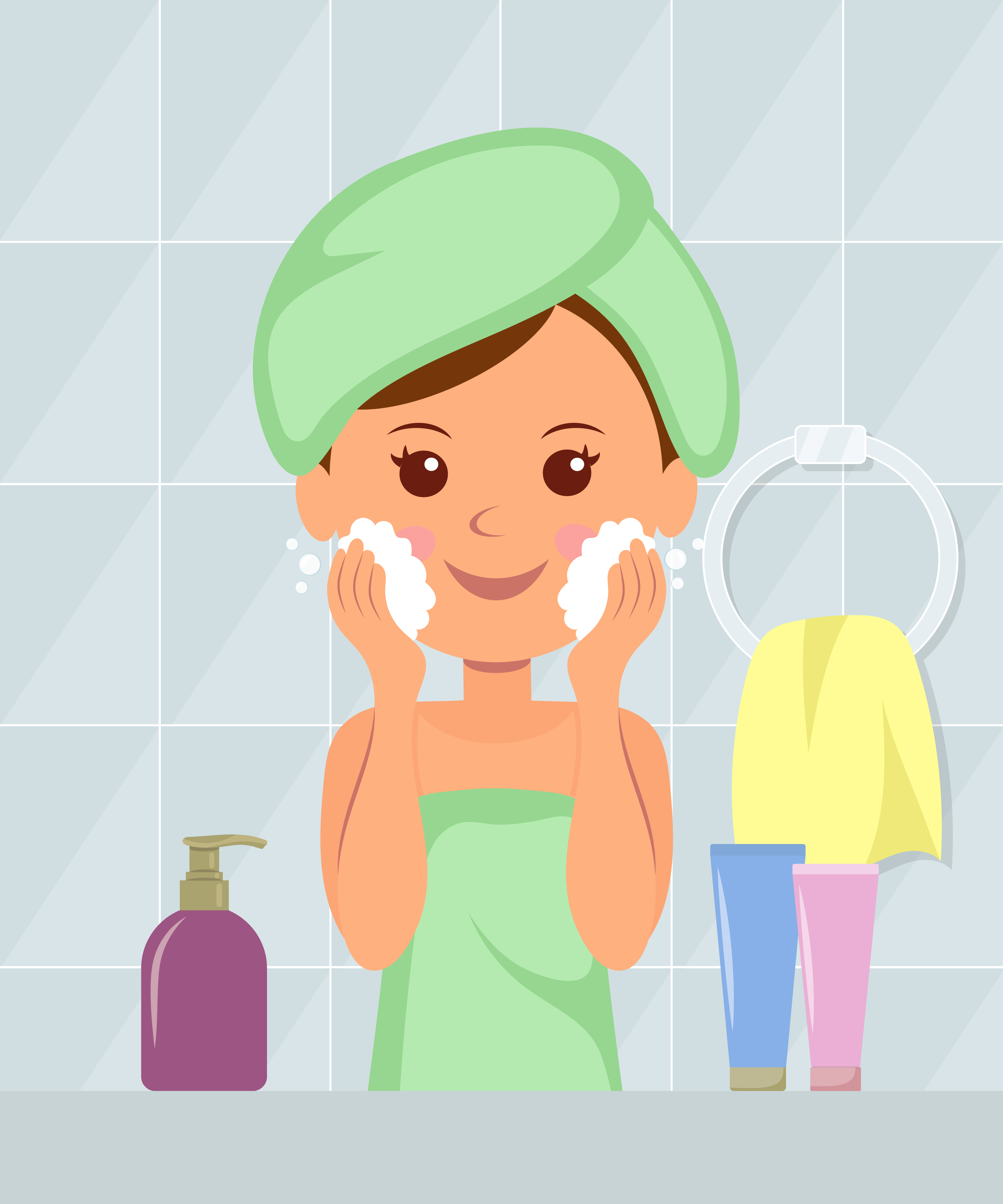 girl cleansing her face