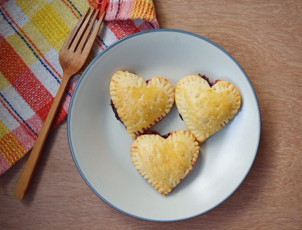 heart-shaped blueberry pies