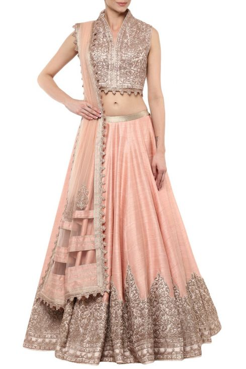 wedding dresses - Shantanu & Nikhil pastel pink lehenga for rent