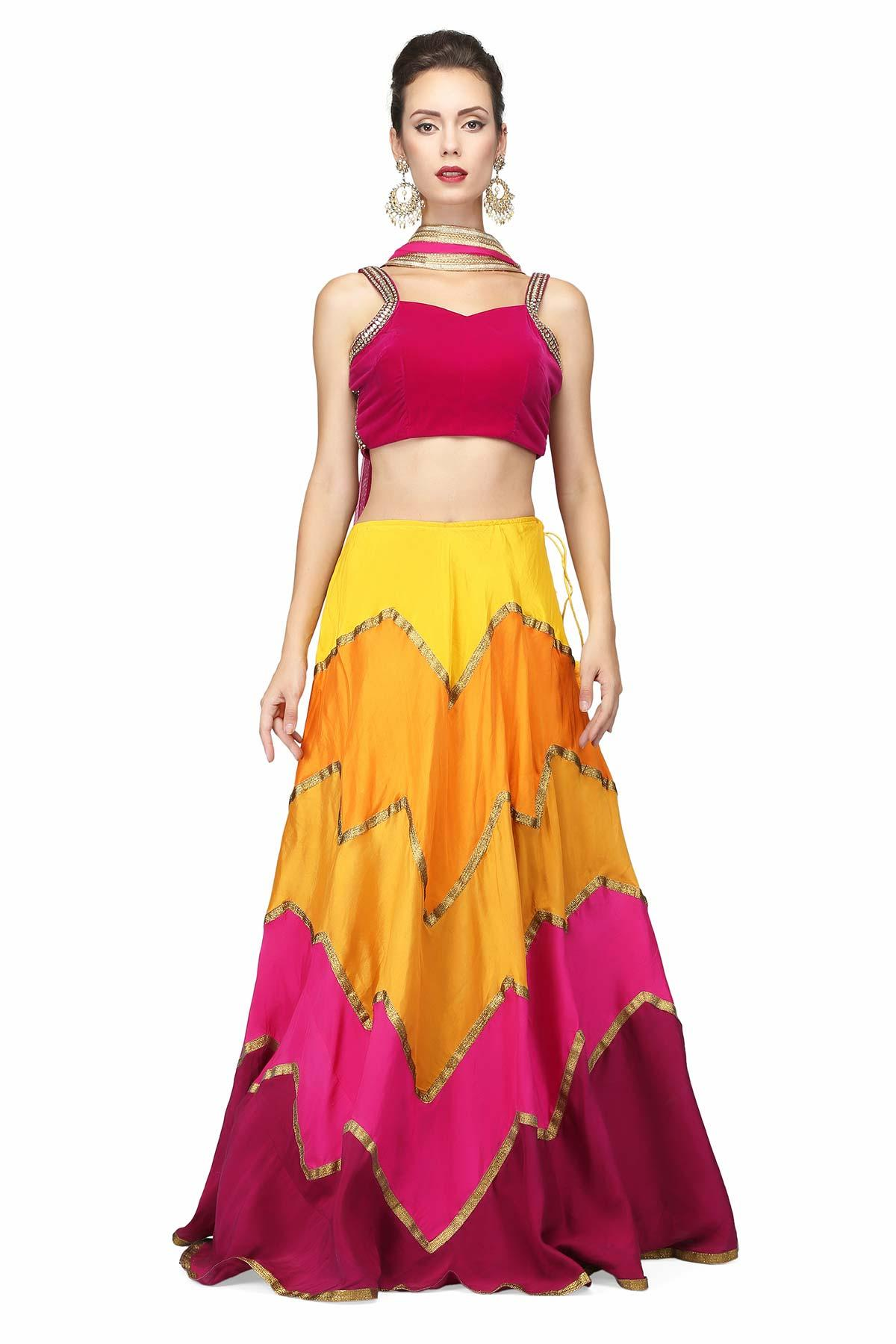 Multi coloured lehenga for rent for under 5k