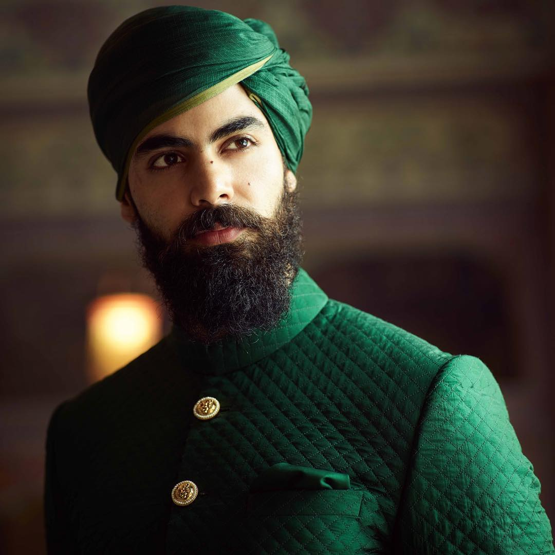 green wedding pagri style