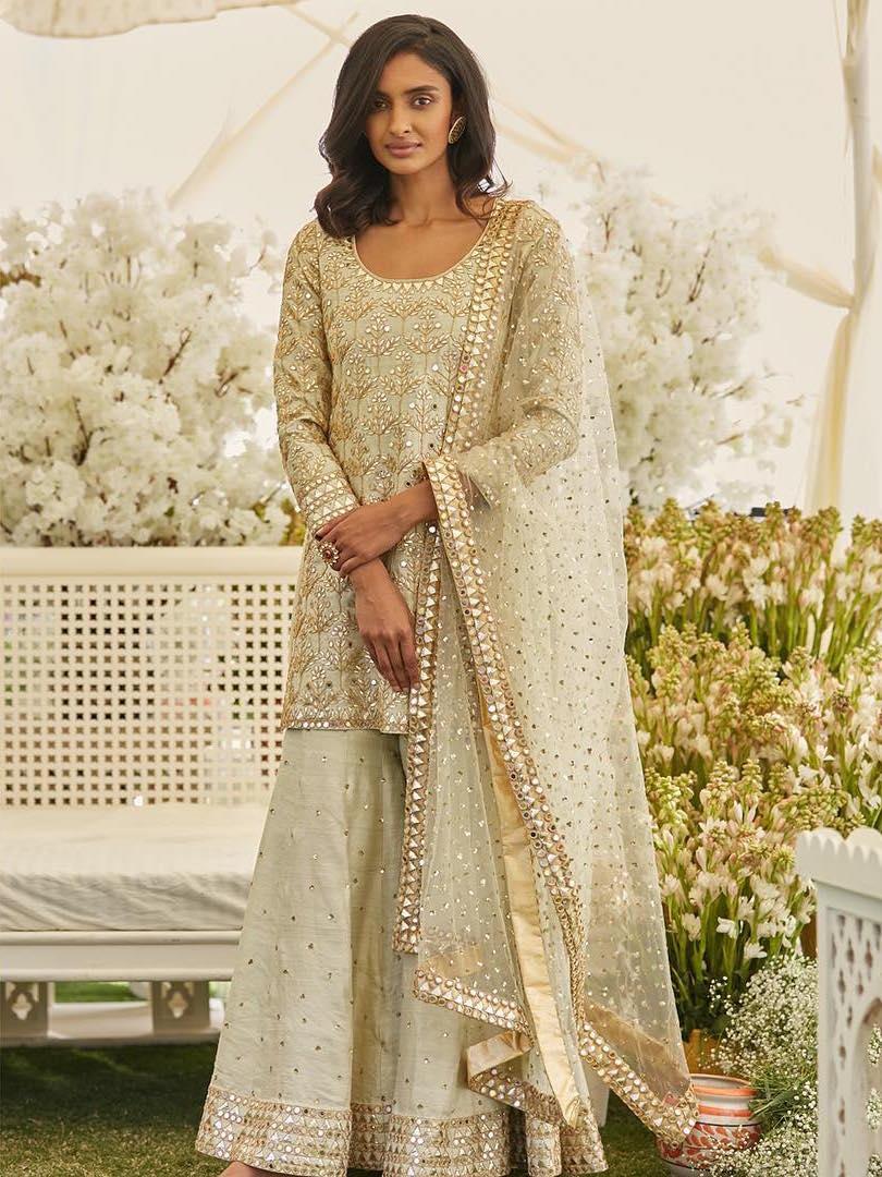 Mint color Palazzo Suit for Indian Brides- Abhinav Mishra, Shahpur Jat Boutiques.