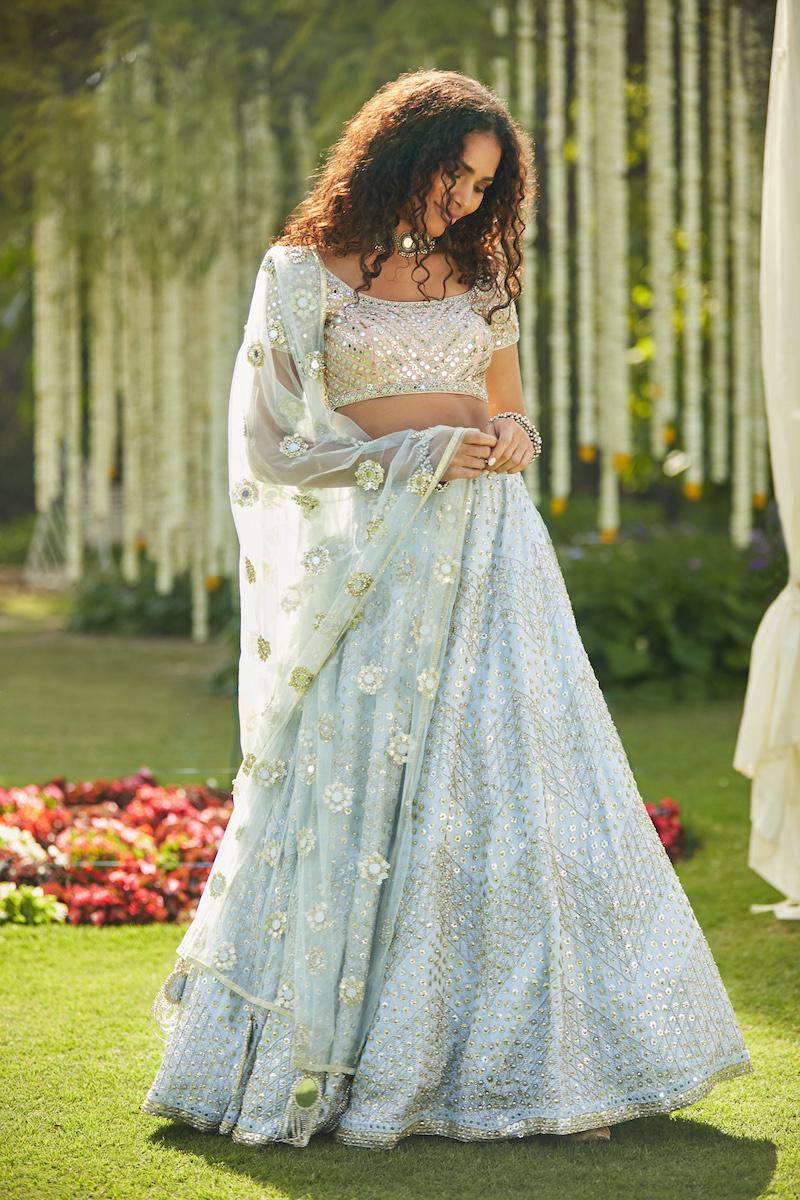 Blue butti work Bridal Lehenga- Abhinav Mishra, Shahpur Jat Boutiques.