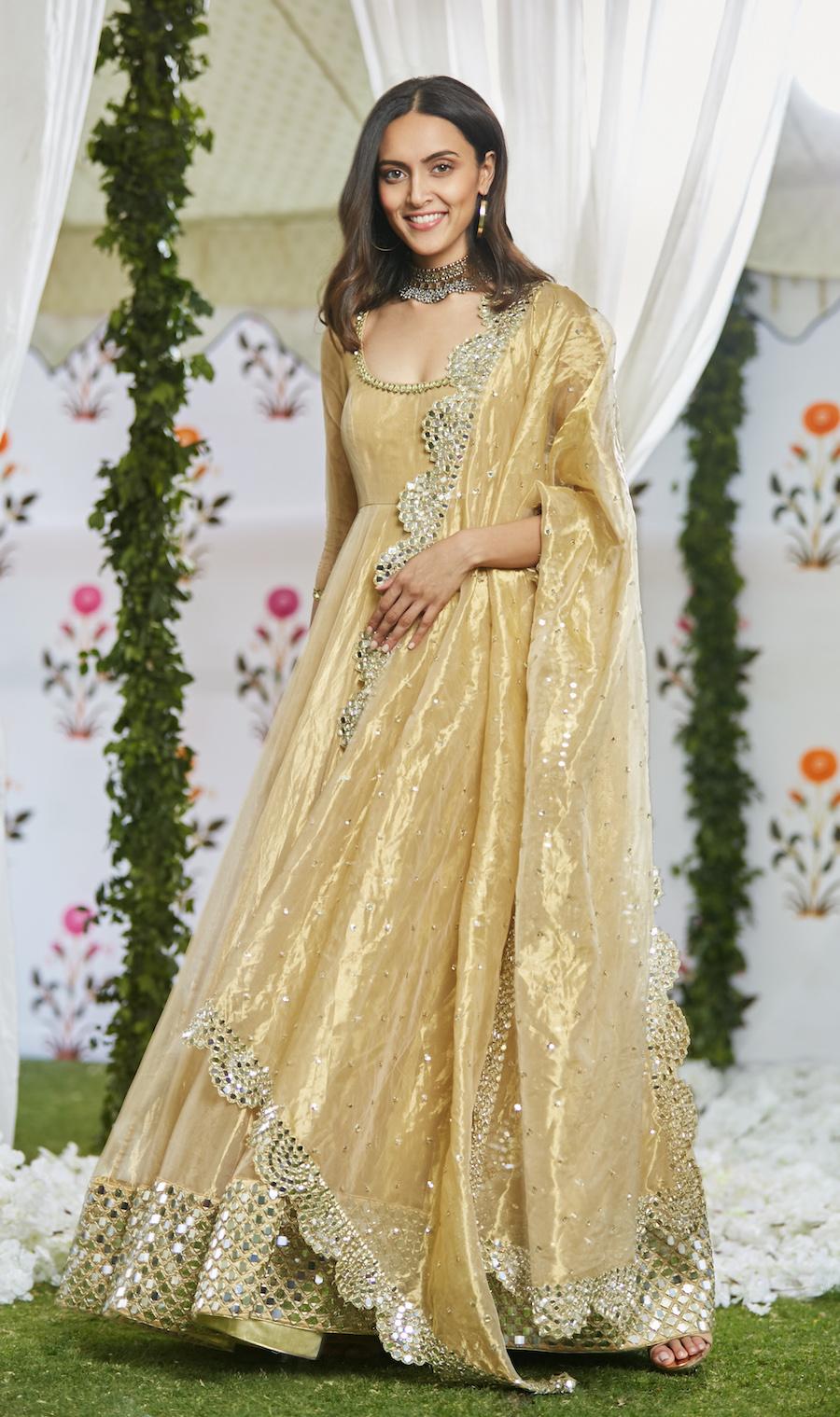 Golden Floor Length Anarkali- Abhinav Mishra, Shahpur Jat Boutiques.