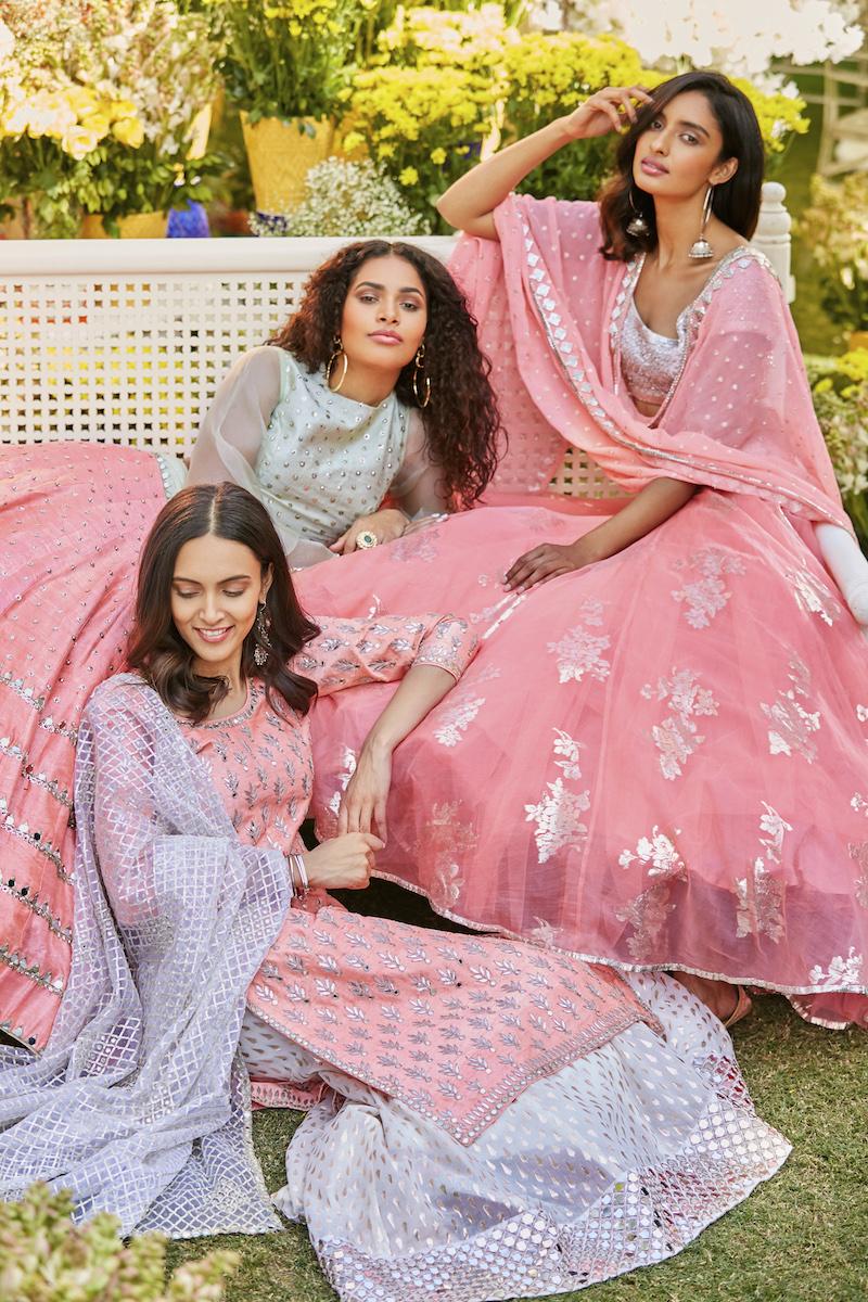 Contrasting Pastel color Bridal dresses- Abhinav Mishra, Shahpur Jat Boutiques.
