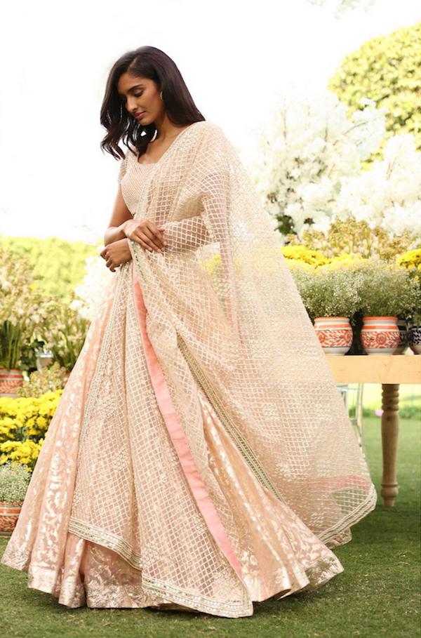 Pale peach Bridal Lehenga - Abhinav Mishra, Shahpur Jat Boutiques.
