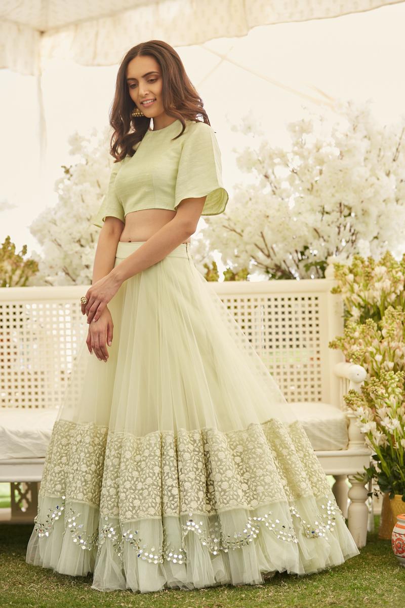 Mint Green Bridal Lehenga with Crop top- Abhinav Mishra, Shahpur Jat Boutiques.