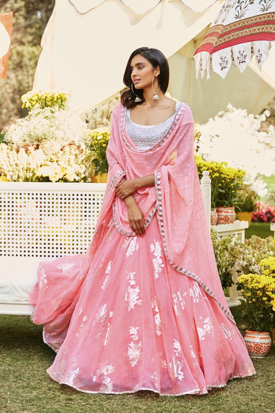 Pastel Pink Bridal Lehenga- Abhinav Mishra, Shahpur Jat Boutiques.