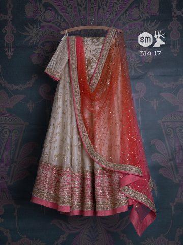 White lehenga with pink and red by Swati Manish