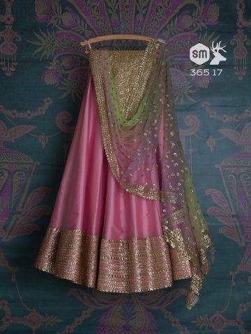 Vintage rose pink lehenga by Swati Manish