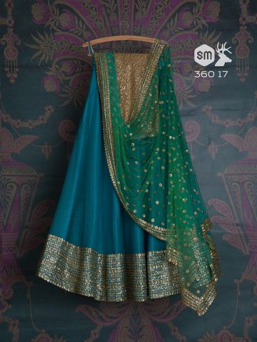 Teal blue lehenga by Swati Manish
